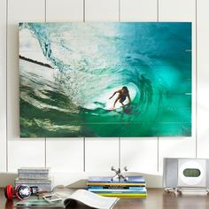 Chris Burkard Photo Real on Wood, Surfer Wave | PBteen