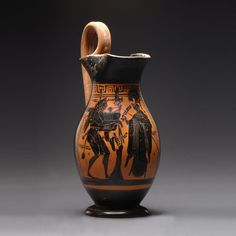 Greek Archaic black-figure Olpe with Herakles Mosikos and Athena. Geometric to Archaic, Greek World, Late Century B. The piece is whole and very well preserved. The piece is whole and very well preserved Coil Pots, Greek Pottery, Black Figure, Art Object, Ancient Greece, Ancient Art, Figure Painting, Ceramic Pottery, Archaeology