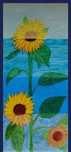 sunflowers with different materials. Good idea to explore different mediums