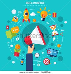 Digital marketing concept with human hand holding flat advertising icons set vector illustration