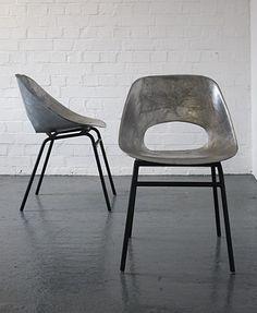 Cast aluminum tulip chairs