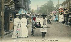 Motomachi street in Yokohama. Old Japan. 横浜元町絵葉書