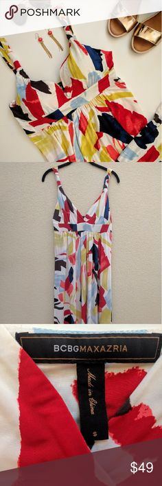 "BCBG MaxAzria stretch printed Maxi Dress w/pockets This colorful brush strokes printed maxi dress is perfect for your next vacation. ???? It has adjustable straps, pockets, and a deep V-neck with a classic Grecian fit. It is in great condition only showing a little wear - two small spots at the hem. 93% rayon 7% spandex. Dry clean only.  Length from shoulder: 53"" - the dress has been hemmed and fits me perfectly with flats (I am 5'4"").  Let me know if you have any questions. BCBGMaxAzria…"