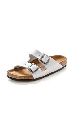 white patent, $135 Birkenstock Arizona SFB Two Band Sandals