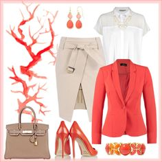 A fashion look from May 2015 featuring see through shirt, red jacket and pink skirt. Browse and shop related looks. Nicholas Kirkwood, Liz Claiborne, Calvin Klein, Fashion Looks, Coral, Skirts, Polyvore, Jackets, Shopping