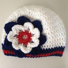 New England Patriots Baby Girl Crochet Baby Beanie by LapofLuxury, $24.00