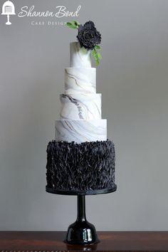 Marbled Ruffle Cake - Cake by Shannon Bond Cake Design Beautiful Cake Designs, Gorgeous Cakes, Pretty Cakes, Cute Cakes, Amazing Cakes, Fondant Ruffles, Ruffle Cake, Cake Design Inspiration, Wedding Cake Inspiration