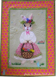 "Mother Bunny, 23 x 33"", by Bonita McFadden, California.  Featured at Quilt Inspiration"