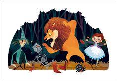 Encountering the Lion - Wizard of Oz illustration - by Lorena Alvarez Gómez Children's Book Illustration, Character Illustration, Art Anime, Character Design References, Wizard Of Oz, Love Art, Fairy Tales, Concept Art, Cartoon