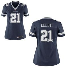 Womens Dallas Cowboys #21 Ezekiel Elliott Nike Blue Elite 2016 Draft Pick Jersey