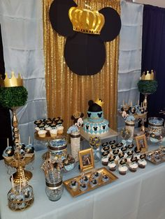 Prince Mickey Mouse themed baby shower desert table