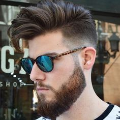 Messy Comb Over + Mid Fade + Beard #HairMenStyle