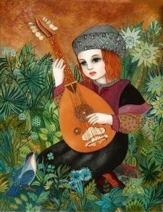 'Le temps des Troubadours' - Touches the world Arte Judaica, Dream Pictures, Ecole Art, Animation, Child Face, Jewish Art, Birds 2, Illustrations, Face Art