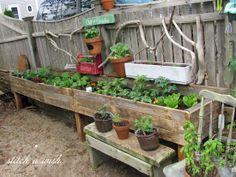 Reclaimed wood raised garden