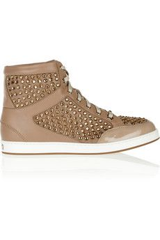 Really? Jimmy Choo Tokyo crystal-embellished suede, leather and patent sneakers  | NET-A-PORTER