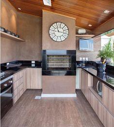 Foto: Reprodução / Claudia Pimenta Wood Home Decor, Home Decor Kitchen, Kitchen Interior, Home Interior Design, Kitchen Design, Grey Kitchen Floor, Kitchen Flooring, Minimalist House Design, Minimalist Home