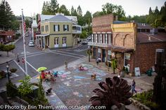 Downtown Nevada City Robinson Plaza after the Outside Inn sponsored Community Chalk Art for First Friday Art Walk