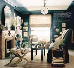 Original room--charming sofa, bench, side table, seating by window and wall color by Miles Redd via Domino 1/9/13
