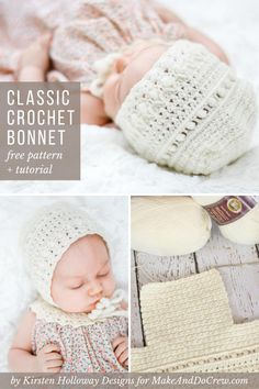 Classic Crochet Baby Bonnet - Free Pattern by Kirsten Holloway Designs This classic lace crochet baby bonnet pattern will quickly become a family heirloom. Crochet Baby Bonnet, Crochet Baby Hat Patterns, Modern Crochet Patterns, Crochet Beanie Pattern, Crochet Bebe, Crochet Baby Clothes, Newborn Crochet, Crochet For Kids, Crochet Hats
