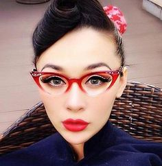 Vintage Small Clear Lens Gradient Frame Cat Eye Red Glasses Crystals Stones