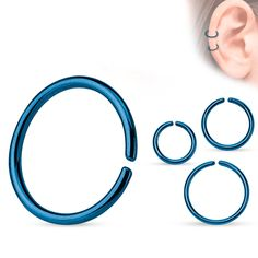 Continuous ring titanium anodized blue Piercings, Titanium Rings, Glasses, Steel, Ring, Blue, Peircings, Eyewear, Piercing