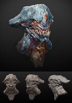 """Bone Head"" Alien Head Hunter Type-A, Vorrarit ""BANG"" Pornkerd on ArtStation at https://www.artstation.com/artwork/K3wlB"