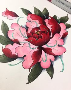 Peony from today #classics #tattoo #tattooart #tatted #tattoodesign #japanese #asian #oriental #flowers #peony #peonies #color #art #artwork #artsy #irezumi #practice #drawing #painting #illustration #sketch #sketching #sketchbook #lovemyjob