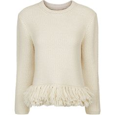 Vanessa Bruno Cream Knitted Fringe Jumper (£560) ❤ liked on Polyvore featuring tops, sweaters, layered sweater, lace up top, bohemian sweater, peplum sweaters and round neck sweater