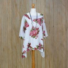 d0d24ba6a3c Lagenlook Tunic Top Floral Linen – White Skirt Tutorial