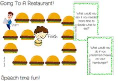 restaurant scenario game to work on social skills