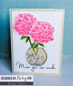 Card using Fresh Cut Peonies stamp set from The Ton.