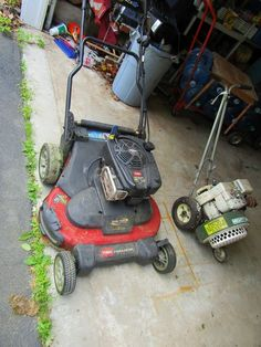 """Toro Timemaster self propelled gasoline powered lawn mower with 30"""" cutting width and Mighty Mac gasoline powered leaf blower. Mower is in good working condition. Leaf blower has compression but didn't start."""