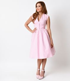 """Bettie Page Clothing """"Golly Miss Dolly"""" Swing Dress 1950s Pin Up Style Pink Gingham Cap Sleeve Golly  Unique Vintage"""