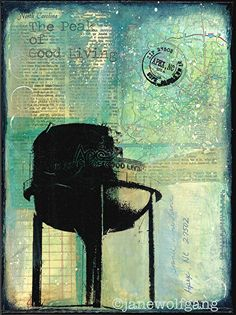 The Tower of Apex, NC by Jane Wolfgang Mixed Media ~ 12 x 9