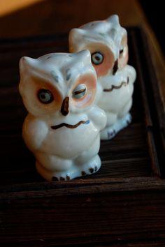Vintage Shawnee Winking Owl Salt & Pepper Shakers, Made in USA