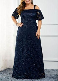 Plus Size Navy Blue Lace Strappy Cold Shoulder Lace Maxi Dress Strappy Cold Shoulder Back Zipper Sequin Detail Lace Dress Big Size Dress, Plus Size Dresses, Dresses For Sale, Dresses Online, Plus Size Lace Dress, Trendy Dresses, Goth Hippie, Sequin Dress, Dress Lace