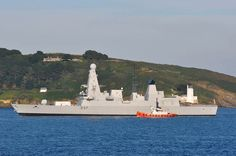 HMS DUNCAN (31 July 2013): 'The Royal Navy's billion pound warship added St Anthony's lighthouse to her futuristic profile as she entered port at Falmouth.' (pic. David Barnicoat) ✫ღ⊰n