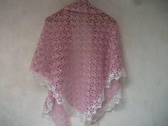 Ness Créative - Châle dentelle crocheté main, laine et alpaga, 180 cm X 92 cm