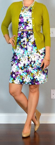 outfit post: purple sleeveless floral ponte dress, green/mustard cardigan, nude wedges | Outfit Posts
