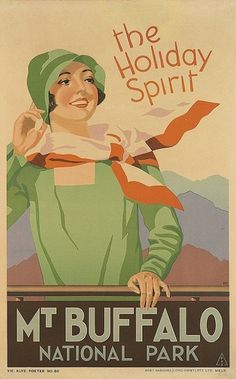 Vintage Travel Poster by Tromph: Mt Buffalo National Park, Australia 1930 Vintage Advertising Posters, Vintage Travel Posters, Vintage Advertisements, Posters Australia, Australian Vintage, Litho Print, Bright Art, Railway Posters, Art Deco Posters