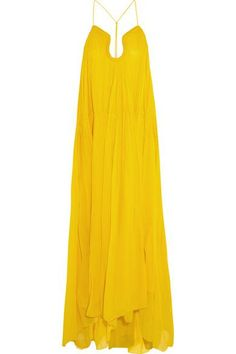 Chloé|Crinkled silk-georgette gown|NET-A-PORTER.COM #dress #blacktie #women #covetme