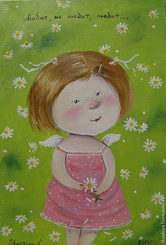 Купить Картина маслом . Любит-не любит - картина, картина маслом, Живопись, живопись маслом, ангелочки