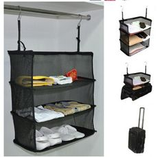 Hot Sales Portable 3 Shelves Hanging Organizer Clothing Towel Rack Polyester Hook Travel Luggage Storage-in Storage Bags from Home & Garden on Aliexpress.com | Alibaba Group