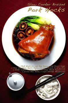 Slow Cooker Braised Pork Hocks This is a classic Chinese restaurant menu item made all Pork Hock Recipe Slow Cooker, Slow Cooker Recipes, Cooking Recipes, Slow Cooking, Easy Cooking, Eisbein Recipe, Pork Shanks Recipe, Pork Leg, Pork Belly