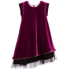 Girls gorgeous purple dress by Junior Gaultier, made with luxuriously soft velvet. It has a silky lining, short capped sleeves and a zip to fasten at the back. An A line dress with rose gold zip details on the sleeves and hem. Adding volume it has layers of black tulle, which hang longer than the dress. It would look super with patent shoes for smart or special occasions.