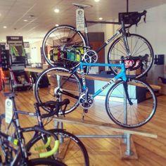 New display feat. @condorcycles #superacciaio and @ridley_bikes #Helium in #retro #belgiumblue  #roadbikes #racebikes #cycleshop #bikeporn #york