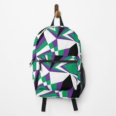 #backpack #coolbackpacks #geometric #shapes #unique #colourful #mosaic #designerbackpack Fashion Backpack, Shells, Triangle, Crown, Backpacks, Patterns, Unique, Pretty, Stuff To Buy