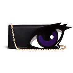 Pierre Hardy 'Oh Roy' eye appliqué leather clutch (€610) ❤ liked on Polyvore featuring bags, handbags, clutches, black, structured purse, leather purse, black structured handbag, black leather handbags and black clutches