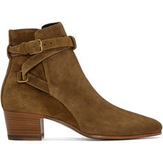 Saint Laurent Tan Suede Jodhpur Ankle Boots ($830) ❤ liked on Polyvore featuring shoes, boots, ankle booties, ankle high boots, tan suede boots, suede bootie, block heel booties and short boots