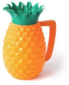 "Pineapple Pitcher, 1960s    Considered by author Andrea DiNoto ""a Pop Art treasure"" this Polyethylene plastic pitcher was made in Brazil by Trol in the 1960s and reissued shortly in 1992 from the same molds. The origin of the design is uncertain, probably american. It is considered an icon of plastics kitsch in Brazil."